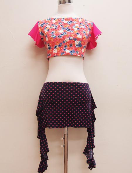 ピンク小花柄トップス ミラーナベリーダンス衣装