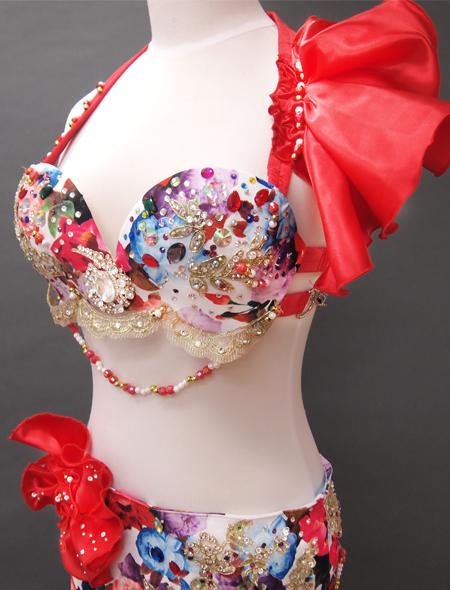 赤花柄コスチューム2 ミラーナベリーダンス衣装
