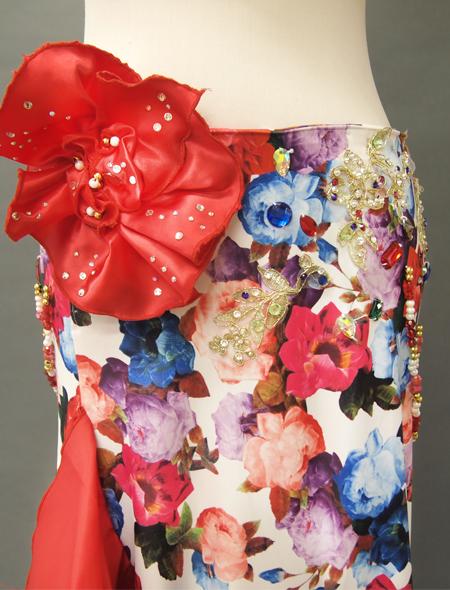 赤花柄コスチューム4 ミラーナベリーダンス衣装