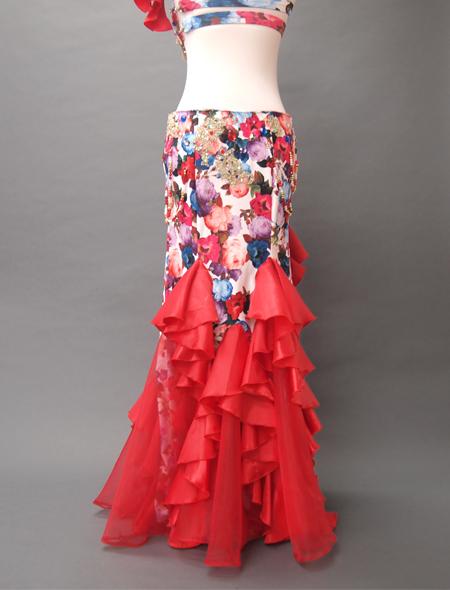 赤花柄コスチューム5 ミラーナベリーダンス衣装
