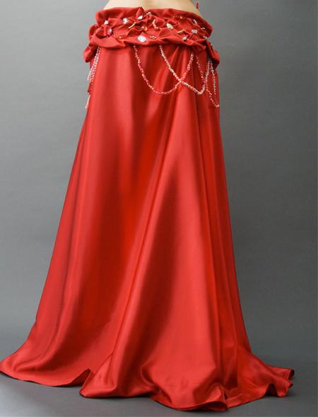 光沢のある豪華な赤のベリーダンス衣装 ミラーナ