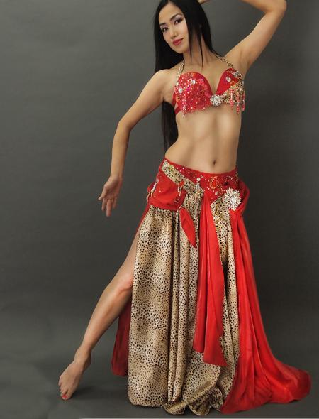 赤ヒョウ柄のベリーダンス衣装1 ミラーナ