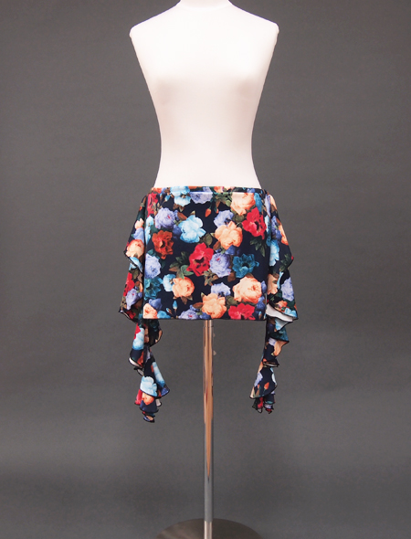 ネイビーローズプリントヒップスカーフ1 ミラーナベリーダンス衣装
