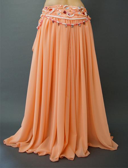 サーモンピンクの豪華なフレアーベリーダンス衣装 ミラーナ
