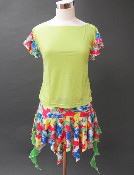 カラフル花柄グリーンセットアップ ミラーナベリーダンス衣装