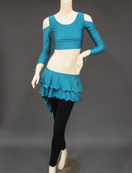 グリーンセットアップレッスンウエア ミラーナベリーダンス衣装