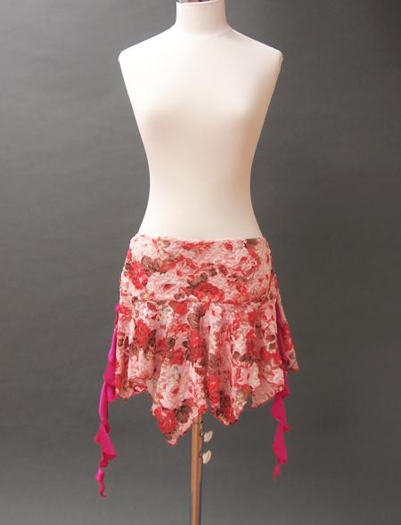 ピンクレース花柄スカート ミラーナベリーダンス衣装