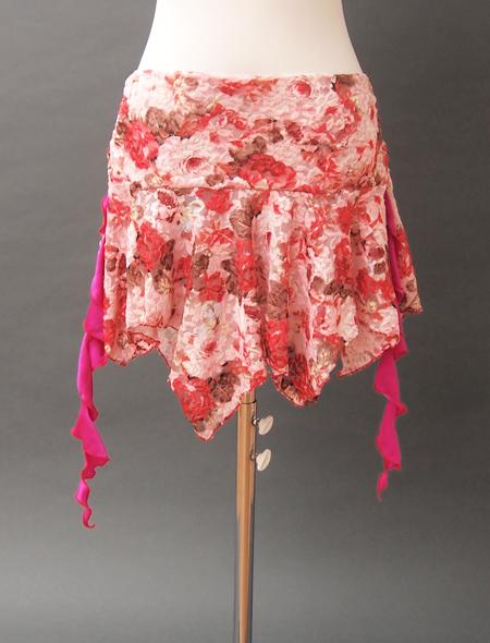 ピンクレース花柄スカート ヨリ ミラーナベリーダンス衣装