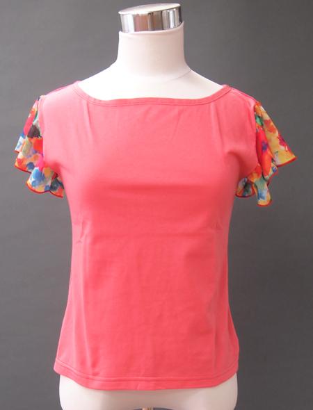 ピンク水彩トップス1 ミラーナベリーダンス衣装
