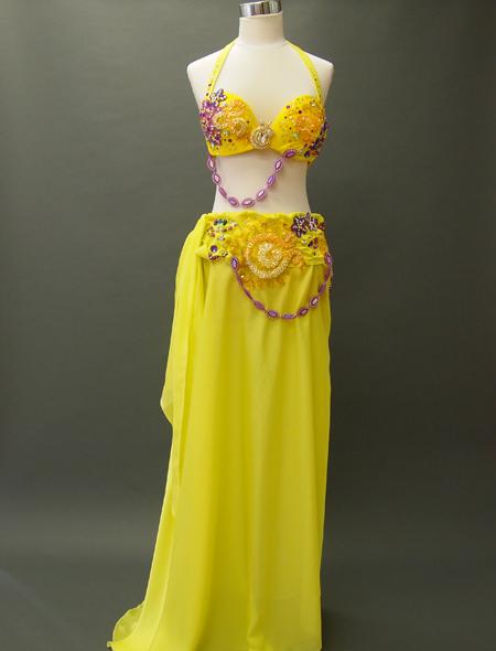 黄色衣装1 ミラーナベリーダンス衣装