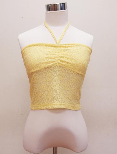 黄色ホルターネックウエア ミラーナベリーダンス衣装