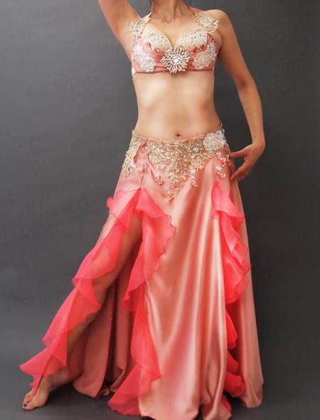 ピンクフリルコスチューム ミラーナベリーダンス衣装
