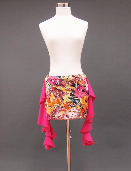 ピンクフリル絵画のようなヒップスカーフ1 ミラーナベリーダンス衣装