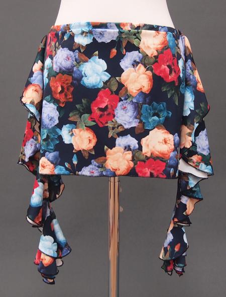 ネイビーローズプリントヒップスカーフ2 ミラーナベリーダンス衣装