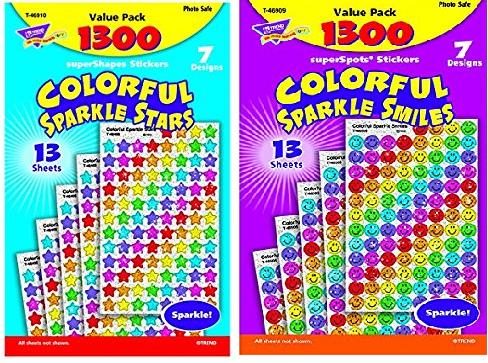 COLORFUL SPARKLE SMILES & STARS 13 SHEETS(13シート1300枚) :キラキラシールお徳用2種類