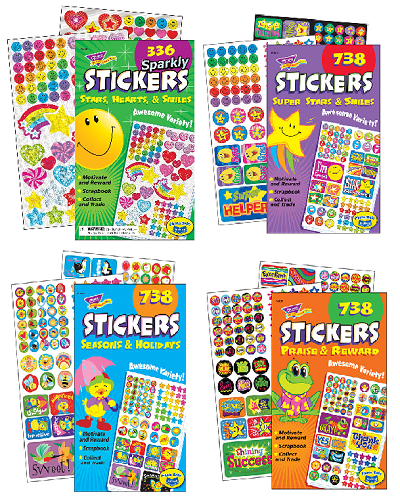 STICKER PADS 4 KINDS(336〜738枚):いろいろな形や種類のシールセット4種類
