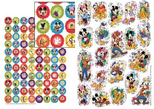 DISNEY STICKERS 2 KINDS:ミッキーと仲間たちのキラキラと型抜きシール2種類