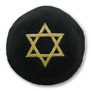 キッパ(機械織) 黒 ダビデの星ゴールド