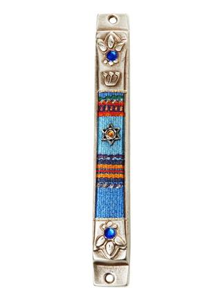 メズーザ(真鍮) ダビデの星、ブルー花