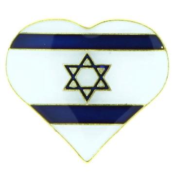 ピンバッチ(ハート型イスラエル国旗)
