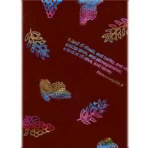 スカーフ/7つの植物 ワインレッド 【商品ID:318】