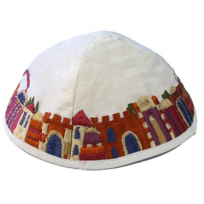 キッパ エルサレム刺繍 白