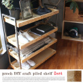 シェルフ プロック DIY クラフト パイルド シェルフ 2SET 4段 連結シェルフ 見せる収納 木製家具 棚 什器