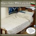ブルガリア軍ブランケット ホワイト×グレーチェック