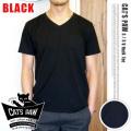 CAT'S PAW(キャッツポウ)S/S Vネック 半袖Tシャツ ブラック・4サイズ