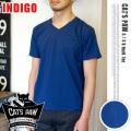 CAT'S PAW(キャッツポウ)S/S Vネック 半袖Tシャツ インディゴ・4サイズ