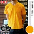 CAT'S PAW(キャッツポウ)S/S Vネック 半袖Tシャツ ゴールド・4サイズ