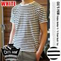 CAT'S PAW(キャッツポウ)ボーダークルーネック半袖Tシャツ ホワイト・4サイズ