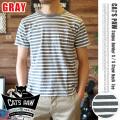 CAT'S PAW(キャッツポウ)ボーダークルーネック半袖Tシャツ ヘザーグレー・4サイズ