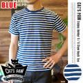 CAT'S PAW(キャッツポウ)ボーダークルーネック半袖Tシャツ ブルー・4サイズ