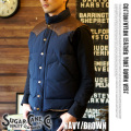 COTTONNYLON LEATHER YOKE DOWN VEST NAVYBROWN