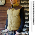 COTTONNYLON LEATHER YOKE DOWN VEST BEIGEBROWN