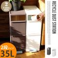 分別スイングステーションワイド 2段 RECYCLE DUST STATION BWP-11 ゴミ箱