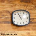 壁掛け時計R-スクエア ブラックウォールクロック 時計 かけ時計 電波時計