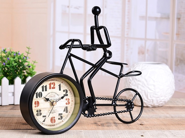 置時計 アンティーク の置時計 オシャレ おしゃれ インテリア 時計 置き時計 北欧 レトロ 自転車 自転車モチーフ