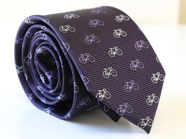 自転車 ネクタイ/結婚式/おしゃれ カジュアル/自転車柄/モチーフ/自転車好き/自転車男子/プレゼント/ギフト/贈り物/シルク100%/ロード