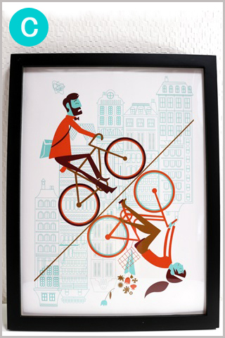 ポスター 北欧/アートポスター/アートフレーム/アートパネル/ポスター インテリア/ポスター 自転車柄/自転車モチーフ