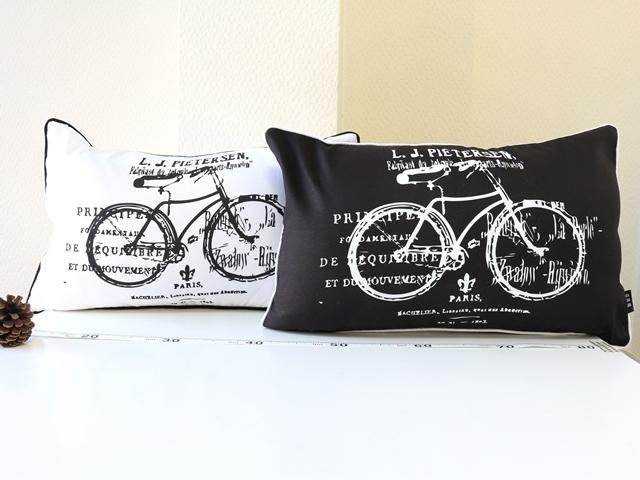 長方形クッション,ピロー,背もたれ クッション,自転車 柄,自転車モチーフ,北欧,おしゃれ,自転車雑貨,インテリア,かわいい,プレゼント
