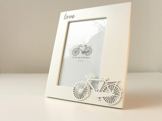 写真立て 自転車/北欧/アンティーク/フォトフレーム/サイクリング 思い出/おしゃれ/プレゼント/自転車モチーフ/自転車雑貨/インテリア/ナチュラル/ホワイ/結婚祝い/出産祝い