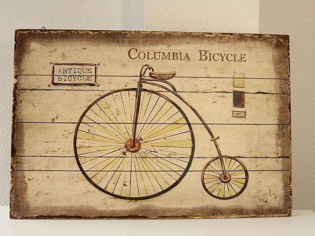 版画 アンティーク自転車版画/アートフレーム 自転車柄/アートパネル/レトロ/自転車看板/自転車の絵/新築 引っ越し祝い ギフト プレゼント