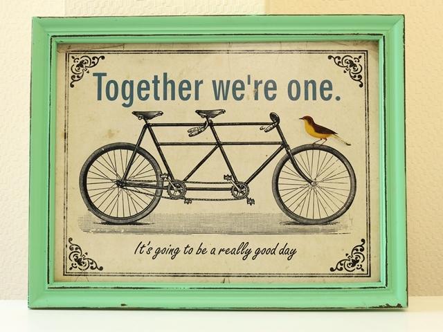 アートパネル/アートフレーム/自転車 タンデム/おしゃれ 北欧 自転車柄/木/版画/アンティーク レトロ 看板/自転車の絵/インテリア 雑貨