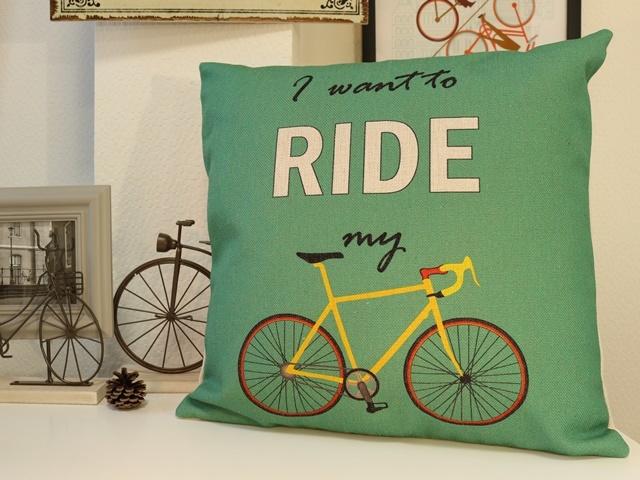 クッションカバー おしゃれ 自転車柄,自転車 雑貨,クッションカバー 北欧 自転車,クッションカバー 45×45,自転車モチーフ インテリア