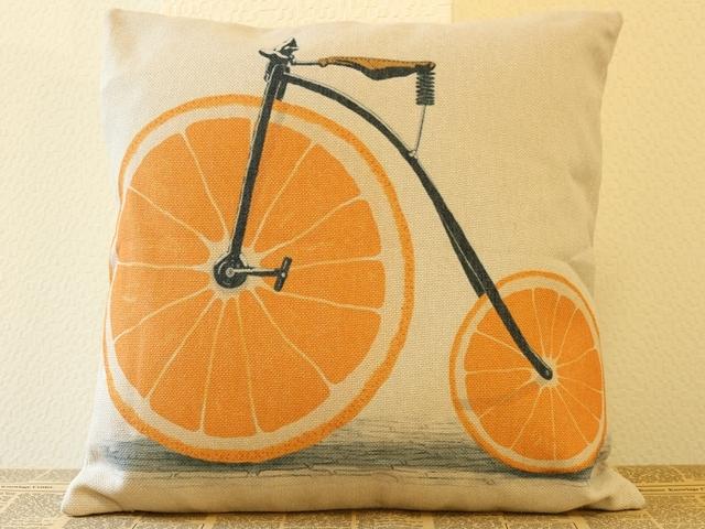 クッションカバー 北欧 45×45/食べ物クッション カバー,フルーツ柄,自転車柄 おしゃれ かわいい,オレンジダルマ