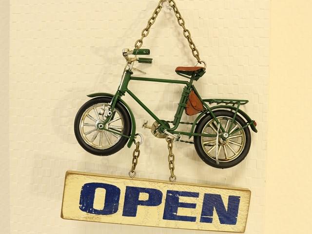 オープン クローズ プレート 玄関 自転車,サインプレート アンティーク open close おしゃれ,雑貨,自転車看板 ミニチュアサイン