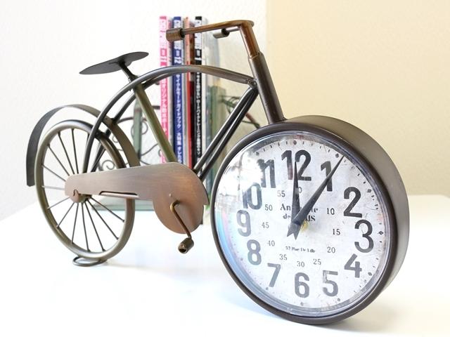 置時計 おしゃれ/自転車/かわいい/雑貨/自転車モチーフ/アンティーク 風 調/レトロ/アナログ/人気/大きい/北欧/プレゼント/シンプル