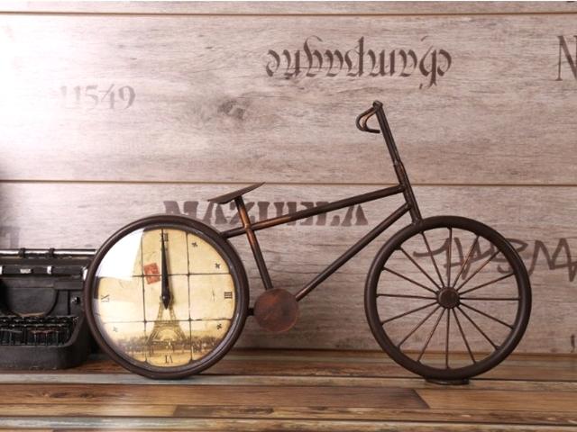 置時計 おしゃれ/自転車/かわいい/雑貨/自転車モチーフ/アンティーク 風 調/レトロ/アナログ/人気/大きい/北欧/プレゼント/記念品